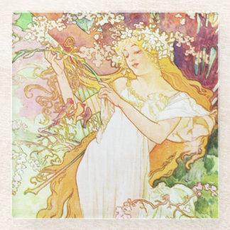 Alphonse Mucha Spring Floral Vintage Art Nouveau Glass Coaster