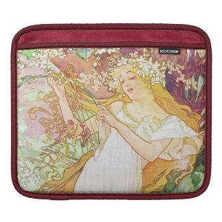 Alphonse Mucha Spring Floral Vintage Art Nouveau iPad Sleeve