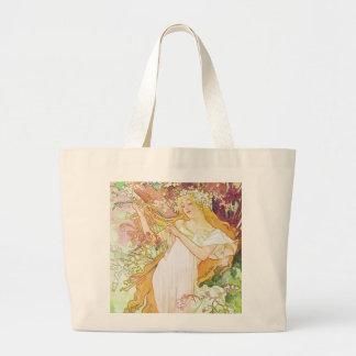 Alphonse Mucha Spring Floral Vintage Art Nouveau Large Tote Bag