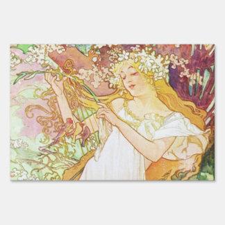 Alphonse Mucha Spring Floral Vintage Art Nouveau Sign