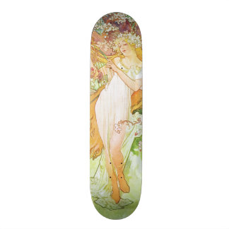 Alphonse Mucha Spring Floral Vintage Art Nouveau Skateboard
