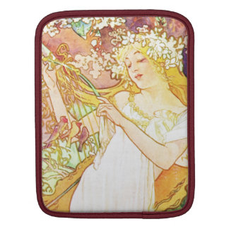 Alphonse Mucha Spring Floral Vintage Art Nouveau Sleeve For iPads