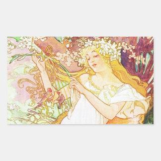 Alphonse Mucha Spring Floral Vintage Art Nouveau Rectangular Sticker