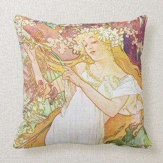 Alphonse Mucha Spring Floral Vintage Art Nouveau Throw Pillow