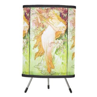 Alphonse Mucha Spring Floral Vintage Art Nouveau Tripod Lamp