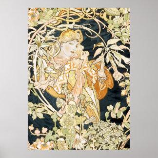 Alphonse Mucha Stunning Art Nouveau Woman #35 Poster