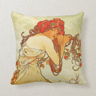 Alphonse Mucha Summer Pillow
