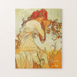 """Alphonse Mucha Summer Puzzle<br><div class=""""desc"""">Alphonse Mucha Summer puzzle. Oil painting on canvas from 1896. Throughout his career, Czech artist Alphonse Mucha frequently painted allegorical depictions of the seasons. This 1896 version of Summer is from a complete four seasons set and features a beautiful young woman with light brown hair leaning on a vine by...</div>"""