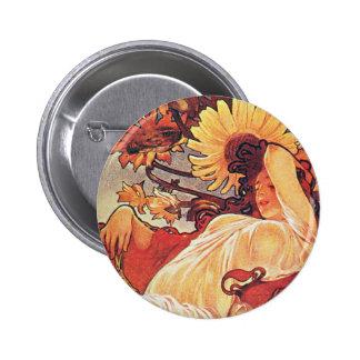 Alphonse Mucha Sunflower Button
