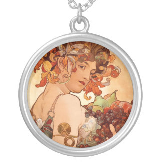 Alphonse Mucha - The Fruits Silver Plated Necklace