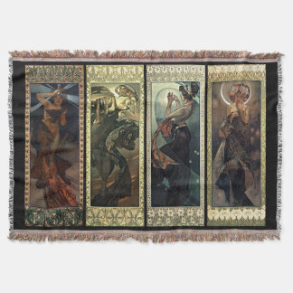 Alphonse Mucha The Moon And The Stars Rugs Throw Blanket