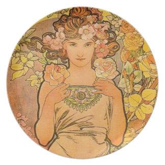 Alphonse Mucha The Rose Dinner Plate