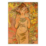 Alphonse Mucha The Rose Greeting Card