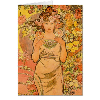 Alphonse Mucha The Rose Greeting Card