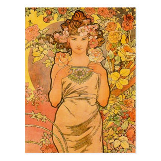 Alphonse Mucha The Rose Postcard