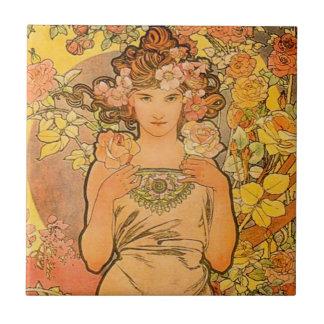 Alphonse Mucha The Rose Tile
