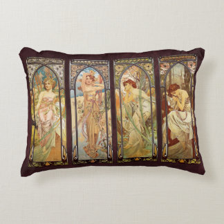Alphonse Mucha, The Times of the Day Decorative Pillow