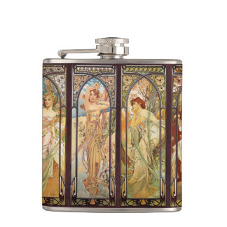Alphonse Mucha, The Times of the Day Hip Flask