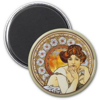 Alphonse Mucha - Topaz 2 Inch Round Magnet