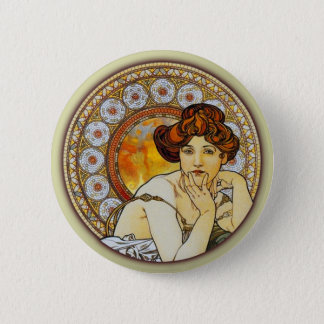 Alphonse Mucha - Topaz Button