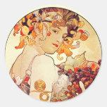 Alphonse Mucha Vintage Art Classic Round Sticker
