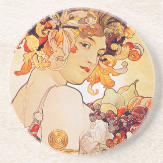 Alphonse Mucha Vintage Art Sandstone Coaster