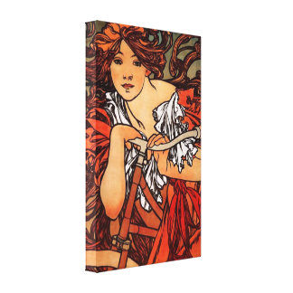 Alphonse Mucha Vintage Bicycle Canvas Poster