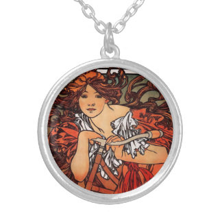 Alphonse Mucha Vintage Bicycle Necklace