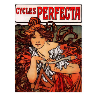 Alphonse Mucha Vintage Bicycle Postcard