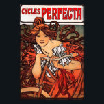"Alphonse Mucha Vintage Bicycle Print<br><div class=""desc"">Alphonse Mucha Cycles Perfecta print. Lithograph poster from 1902. Alphonse Mucha created some of the most vibrant and captivating Art Nouveau advertisements of the early twentieth century. Cycles Perfecta features a young woman with red hair leaning over the handlebars of a red bicycle. The girl wears a red dress with...</div>"