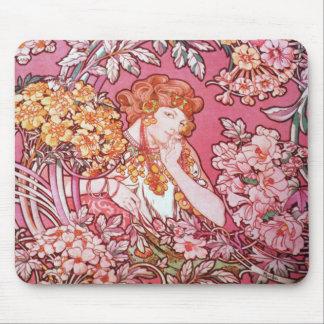 Alphonse Mucha Woman Among the Flowers Mouse Pad
