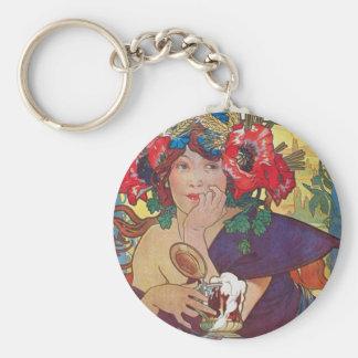 Alphonse Mucha Woman Basic Round Button Keychain