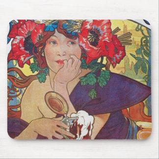 Alphonse Mucha Woman Mouse Pad