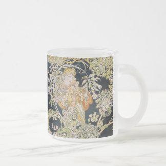 "Alphonse Mucha, ""Woman with a Daisy"" Frosted Glass Coffee Mug"