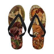 Alphonse Mucha Women Flip Flops Vintage