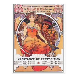 Alphonse Mucha -  World's Fair 1904  St. Louis Postcard
