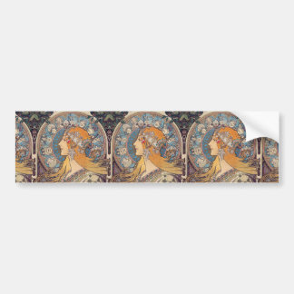 "Alphonse Mucha, ""Zodiac"" Bumper Sticker"