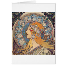"Alphonse Mucha, ""Zodiac"" Card at Zazzle"