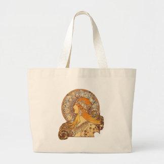 Alphonse Mucha - Zodiac Large Tote Bag