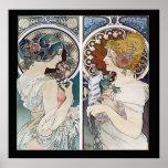 Alphonse Mucha's 2 Faces Vintage Poster