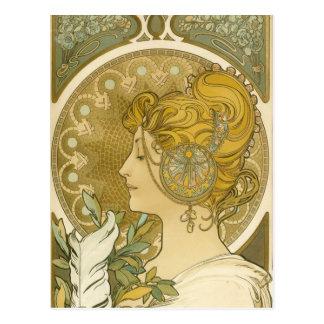 Alphonse Mucha's La Plume Postcard