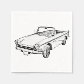 Alpine 5 Sports Car Illustration Paper Napkin