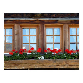 Alpine Chalet Window Postcard