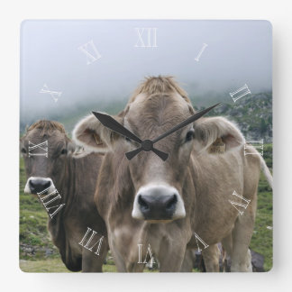 Alpine cows clock with numbers