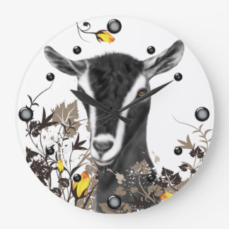 Alpine Dairy Goat Painting Floral Wall Clock