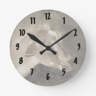 Alpine doe sepia shaved baby goat striped face round clock