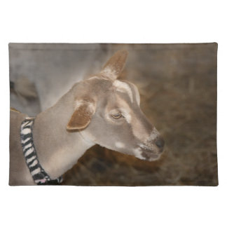 Alpine doe shaved baby goat striped face place mat