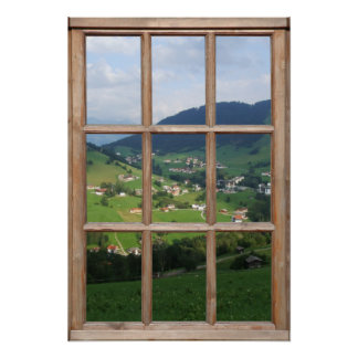 Alpine Foothills View from a Window Print