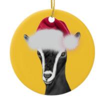 Alpine Goat Santa Hat Christmas  Ornament
