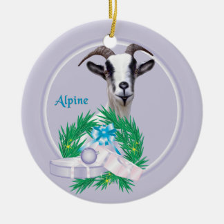 Alpine Goat Wreath Holiday Ornament